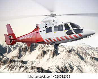Rescue helicopter in flight over snow capped mountains with motion blur blades. Photo realistic 3d scene