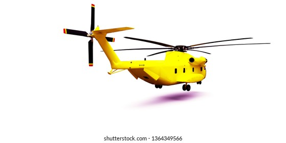 Rescue helicopter on white background. 3d illustration.