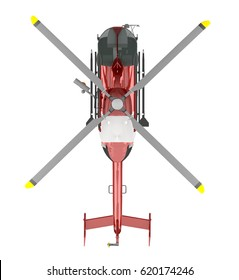 rescue helicopter top view isolated on white. 3d rendering