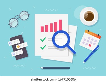 Research of audit report or financial risk access evaluation top view working desk table flat cartoon, work place or desktop and sales data reporting check document or business analytics image
