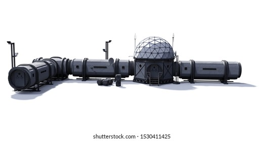 research base, habitat for astronauts on Mars or Moon (3d science illustration)