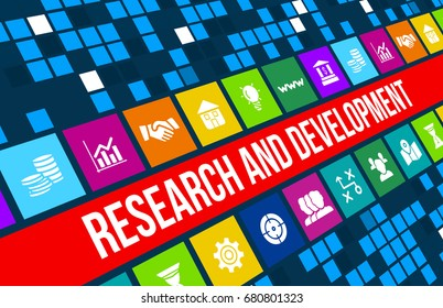 Research and development  concept image with business icons and copyspace.