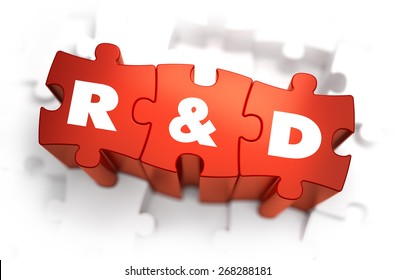 Research and Development - White Word on Red Puzzles on White Background. 3D Render.