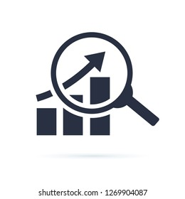 research icon, analyze business linear sign isolated on white background illustration. Financial business growth of profit sign. Analyse budget diagram solid icon. Inforgaphic symbol