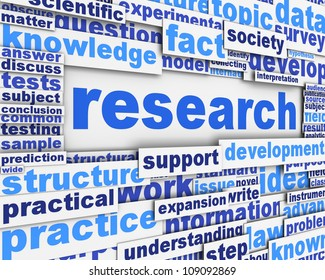 Research poster design. Scientific research message concept