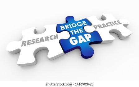 Research and Practice Bridge the Gap Puzzle Pieces Words 3d Illustration