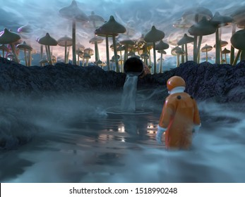Researcher in a toxic waste ditch, 3d illustration