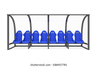 Reserve Chair and Staff Coach Bench Isolated. 3D rendering