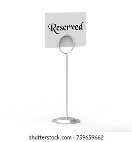 Reserved card, reserved symbol on isolated white background, 3d illustration
