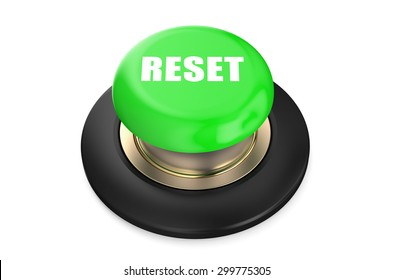reset green  button isolated on white background