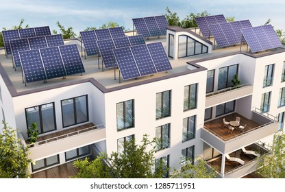 Residential building with solar panels on the roof. 3D rendering