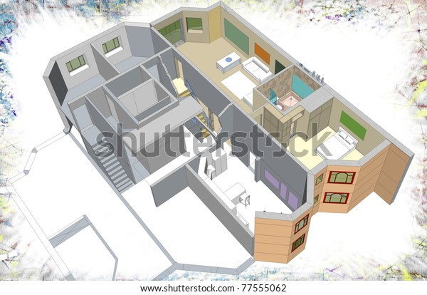 Residential building. Two level apartments.3D sketchy drawing - presentation. My own sketchy stylish design.