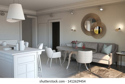 residential interior visualization, 3D illustration