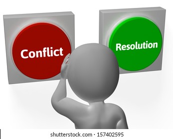 Resolution Conflict Buttons Showing Fighting Or Arbitration