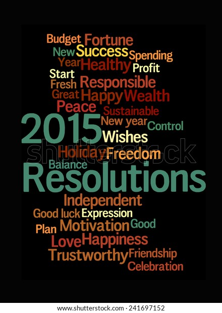 Resolution & wishes 2015 on black background