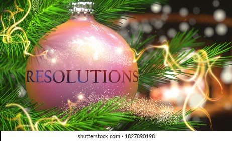 Resolutions and Christmas holidays, pictured as a Christmas ornament ball with word Resolutions and magic beams to symbolize the connection and importance of Resolutions during Xmas, 3d illustration