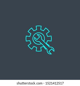 resolve concept blue line icon. Simple thin element on dark background. resolve concept outline symbol design. Can be used for web and mobile UI/UX
