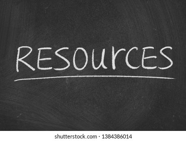 resources concept word on a blackboard background
