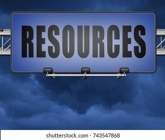 Resources human or natural resource road sign billboard 3D, illustration