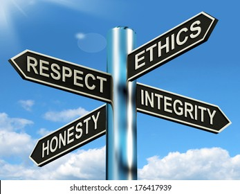 Respect Ethics Honest Integrity Signpost Or Road Sign Shows Desirable Morality Traits To Choose Or Appreciate.