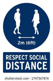 Respect social distance 2 meters (6 feet) poster. Poster for covid19 in english language.
