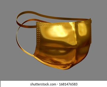 Respirator auf Golden, 3D-Illustration