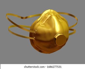 Respirator, Medizinische Maske, auf Golden, 3D-Illustration