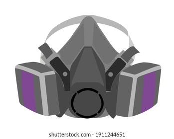 respiratory mask with purple cartridges