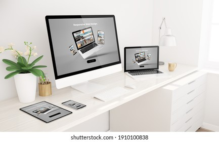 Responsive Devices mockup 3D-Darstellung zeigt Website zu Hause