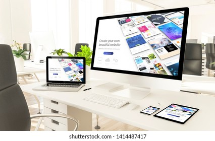 responsive devices showing responsive builder website at loft office 3d rendering mockup