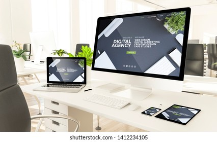 responsive devices showing digital agency at loft office 3d rendering mockup