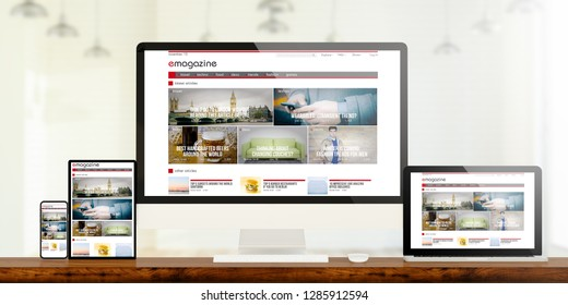 responsive devices showing e-magazine website 3d rendering