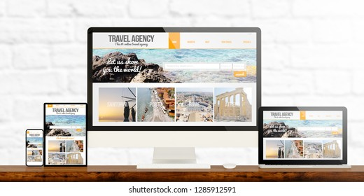 responsive devices showing travel agency website 3d rendering