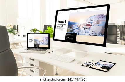 responsive devices showing responsive travel blog at loft office 3d rendering mockup