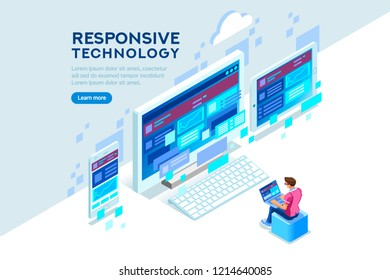 Responsive internet creation, conceptual screen interface for mobile. Building a device display content. Layout for smartphone. Concept with characters and text flat isometric illustration.