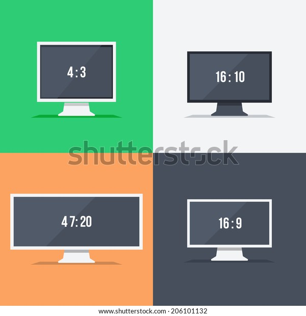 Responsive web design on monitors with different aspect ratio size 4:3 16:10 47:20 16:9 in flat design. Set for web and mobile applications. Raster version