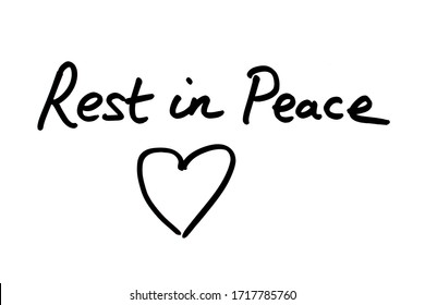 Rest in Peace handwritten on a white background.