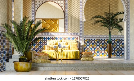 Rest room in Moroccan style. 3d illustration.