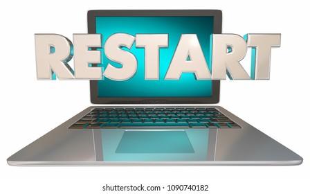 Restart Computer Laptop Reset Fix Problem 3d Render Illustration