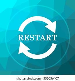 Restart icon. Restart website button on blue low poly background.