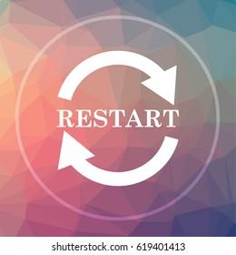 Restart icon. Restart website button on low poly background.