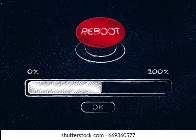 restarting technology: big red reboot button with progress bar loading