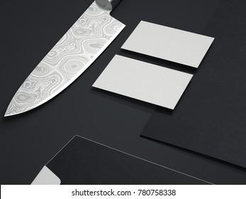 Restaurant branding mockup with kitchen knife. 3d rendering