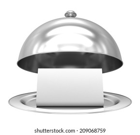Restaurant cloche with paper template on white background