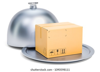Restaurant cloche with parcel, 3D rendering isolated on white background