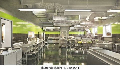 Restaurant equipment. Modern industrial kitchen. 3d illustration