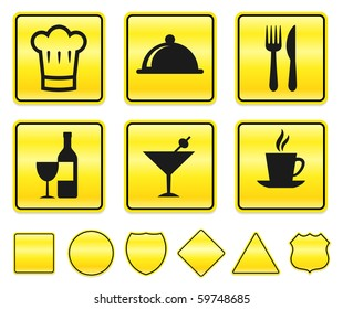 Restaurant Icons on Yellow Sign Button Collection Original Illustration