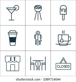 Restaurant icons set with eating house, table, espresso and other restroom elements. Isolated  illustration restaurant icons.