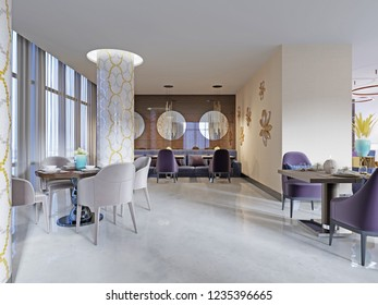 Restaurant interior, part of a hotel, wall with round mirrors. 3d rendering