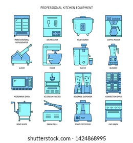 Restaurant kitchen equipment icon set in colored line style. Commercial cooking appliances symbols collection.